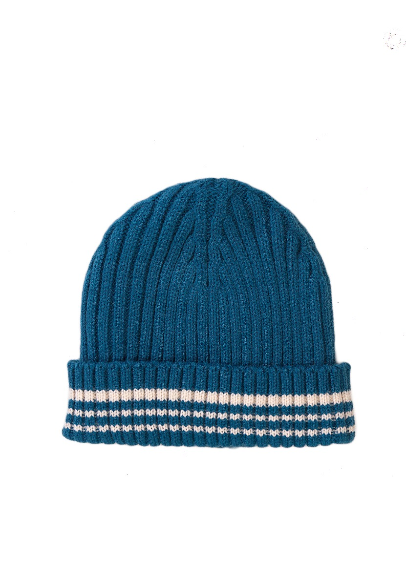 Caciula cu bordura, tricotata Minoti, KB HAT, turcoaz