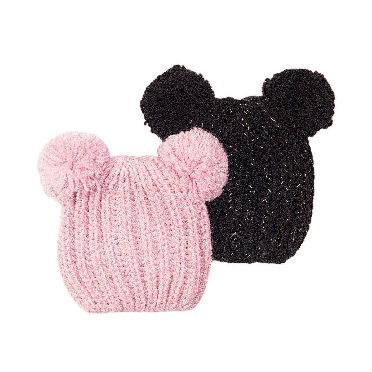 Set caciuli tricotate roz/negru Minoti Kg Hat imagine