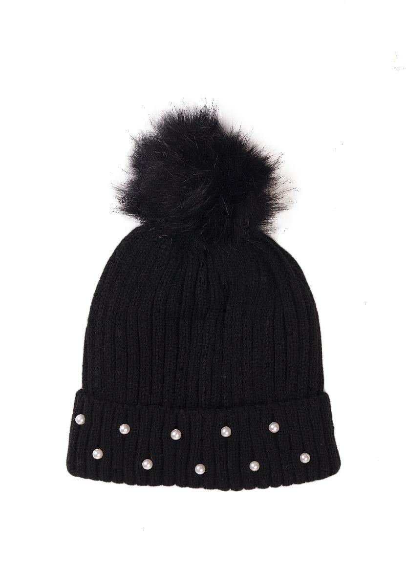 Caciula tricotata, decorata cu margelute Minoti, KG HAT, negru