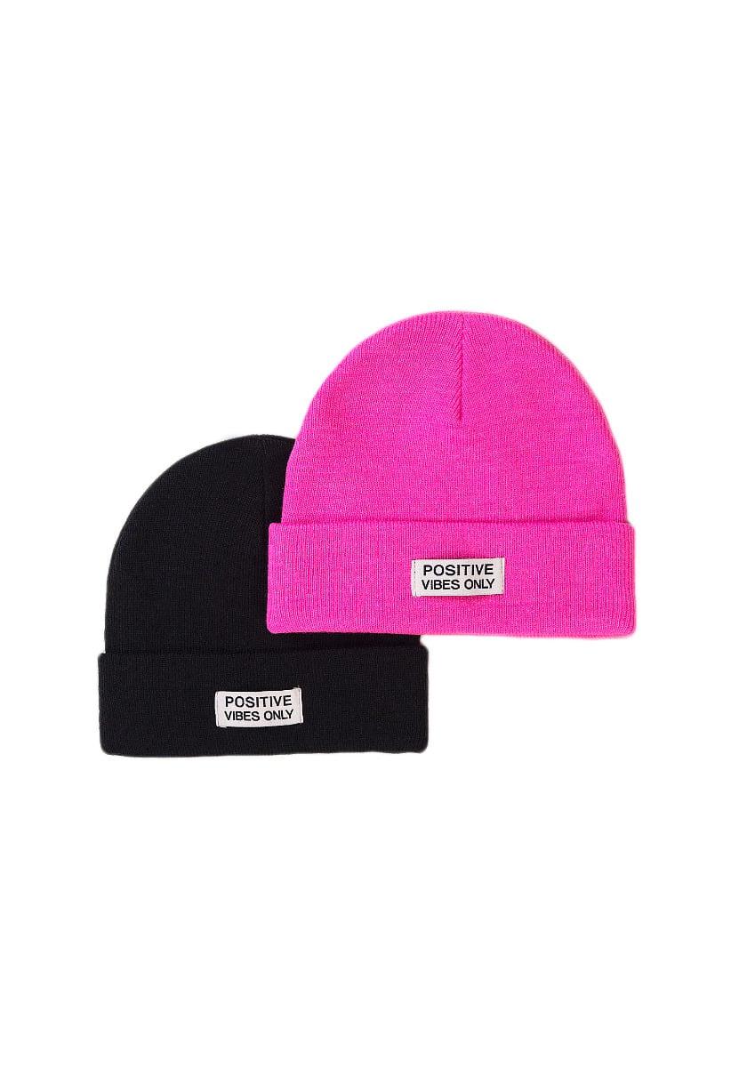 Set 2 caciuli tricotate Minoti, KG HAT, roz/negru