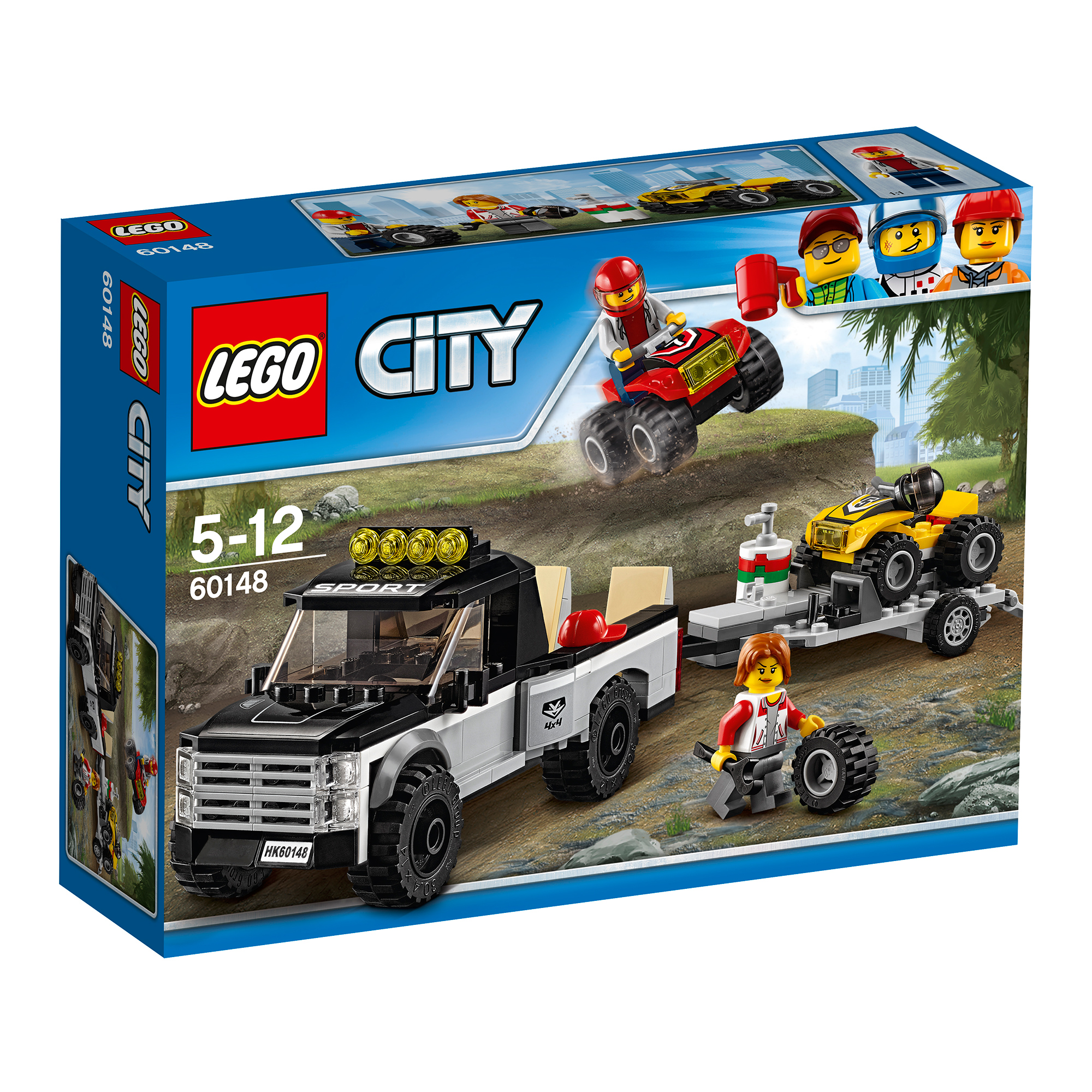 lego® city great vehicles - echipa de curse pe atv (60148)