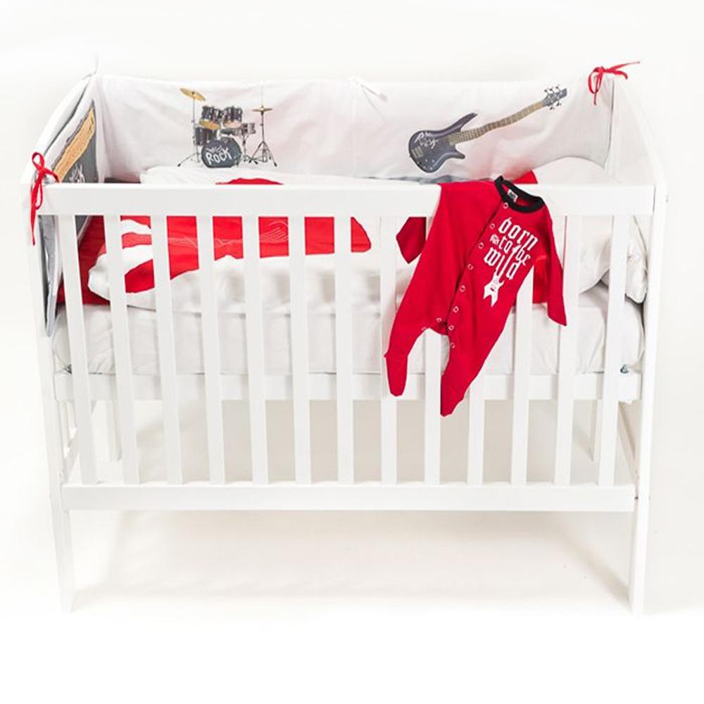 lenjerie de pat copii 4 piese minirock - dreaming of a rock concert, 30 x 180 cm