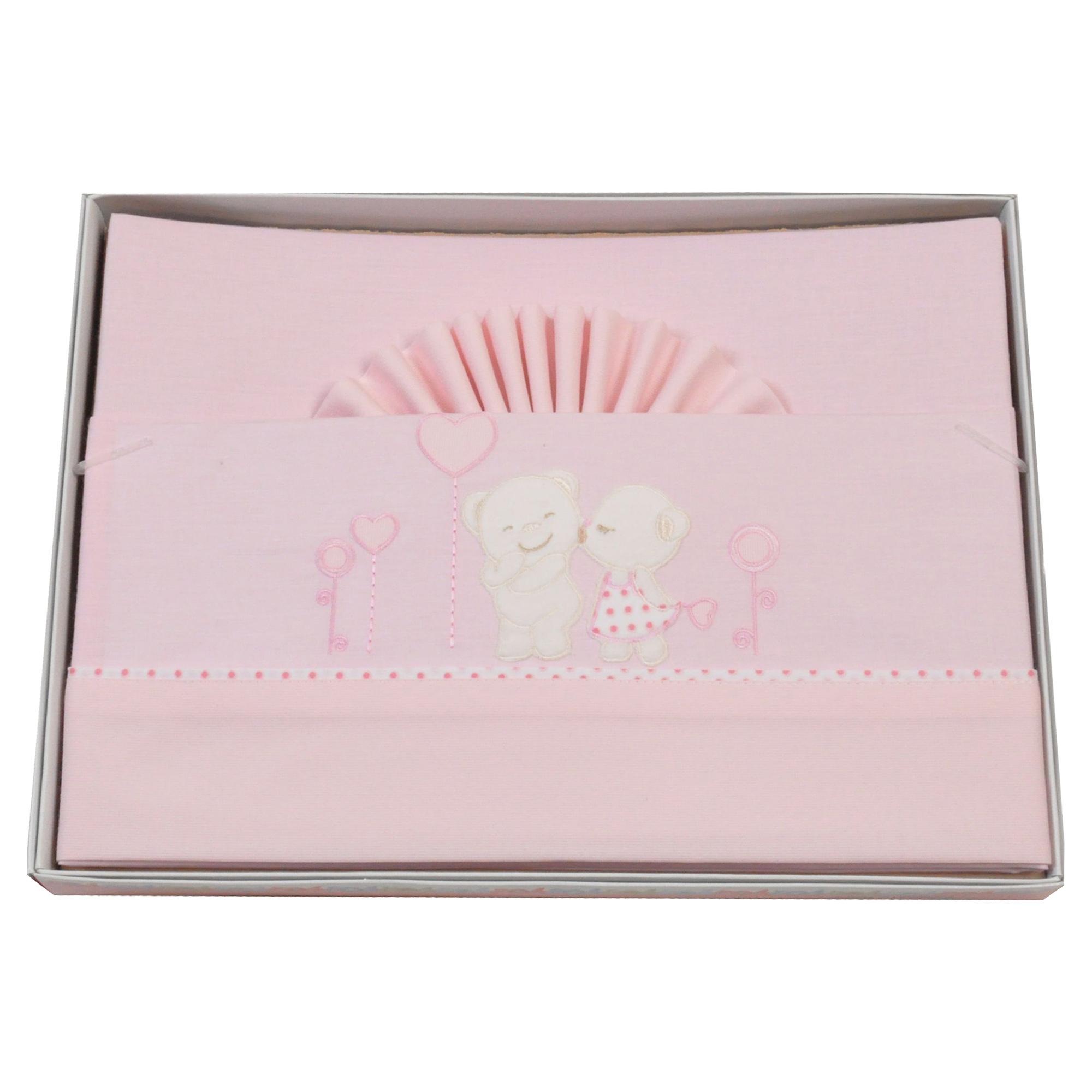 lenjerie de pat copii king bear 3 piese, 120 x 60cm, roz