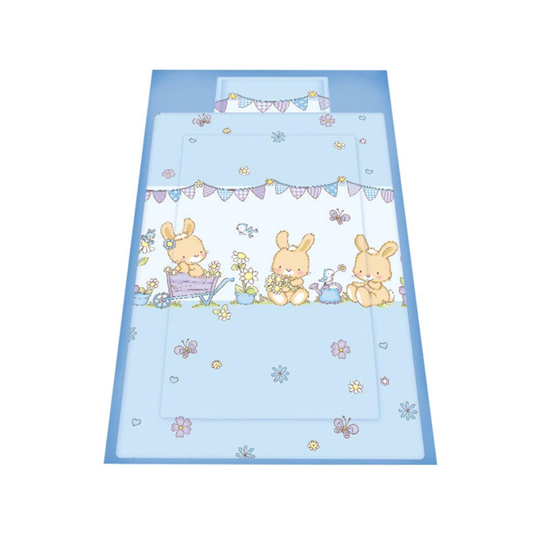 lenjerie de pat copii lorelli classic 3 piese bunnies, blue
