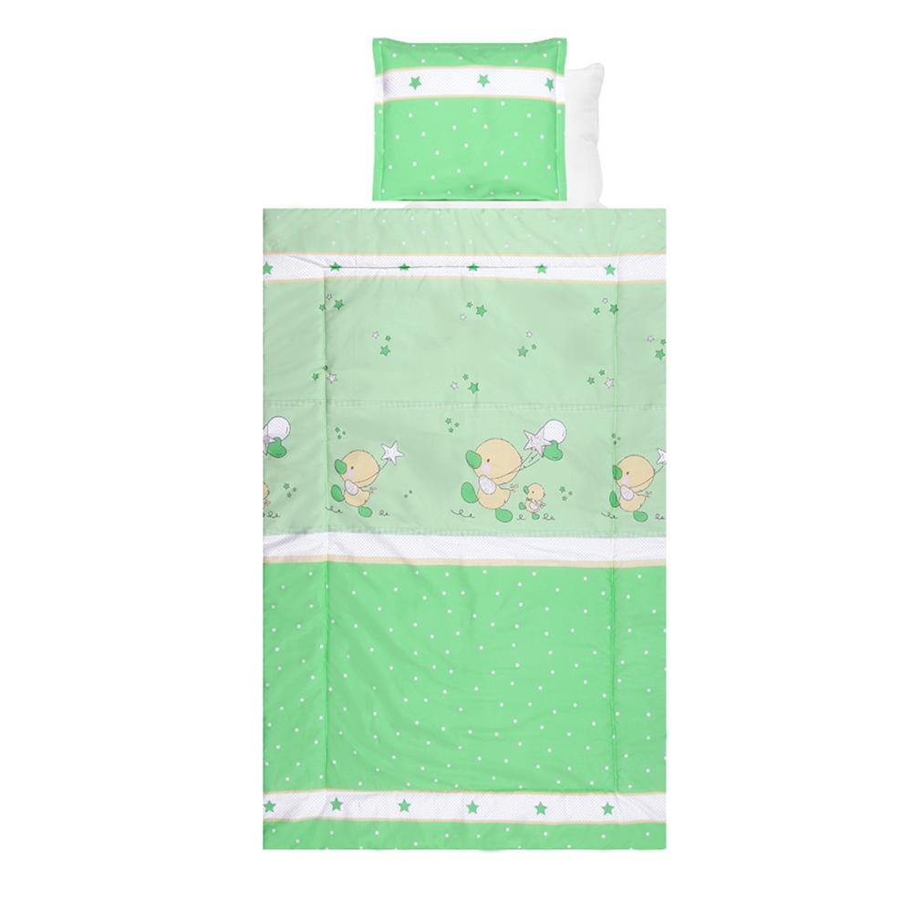 Lenjerie de pat copii Lorelli Classic 4 piese Ducks Green