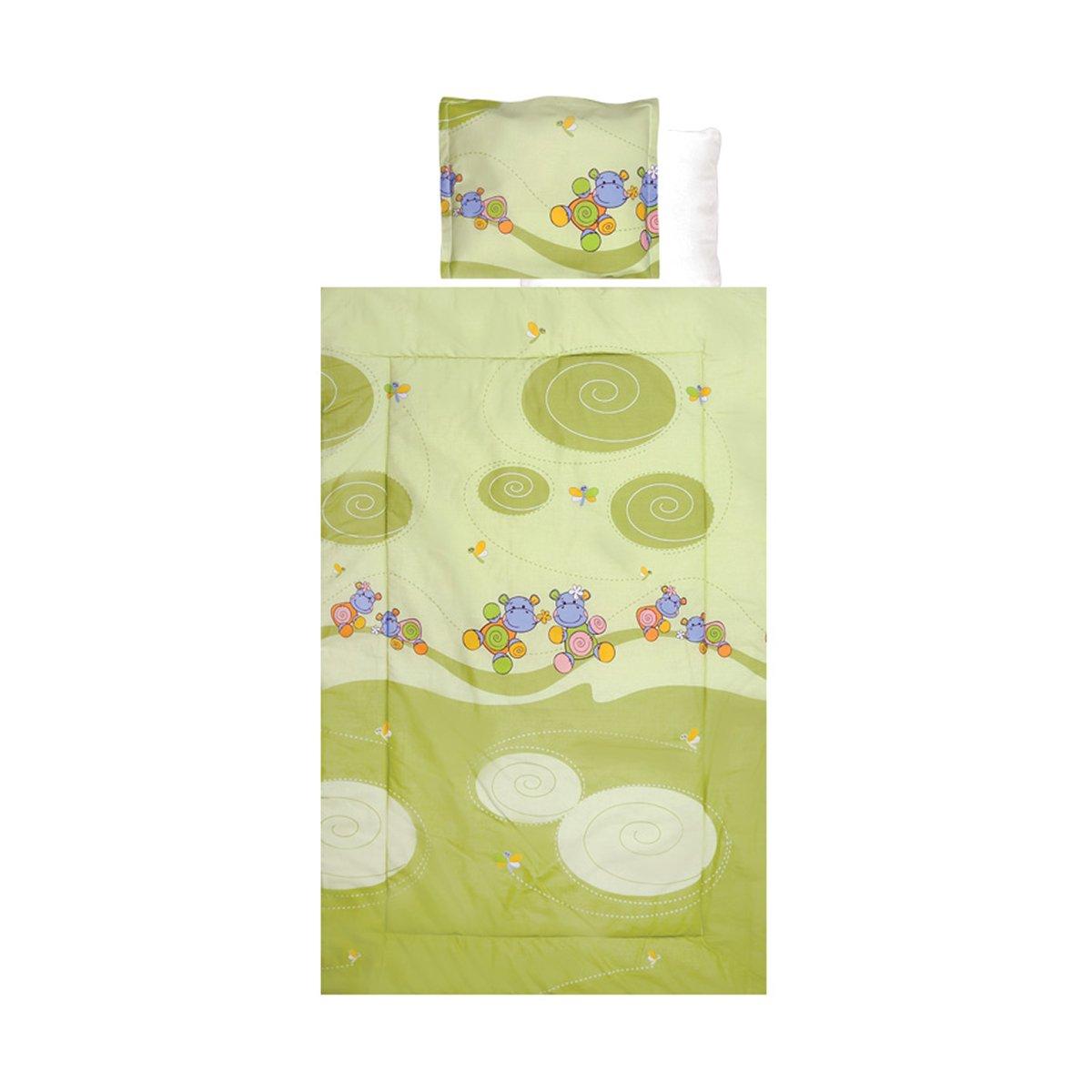 Lenjerie de pat copii Lorelli Classic 4 piese Hippo Green