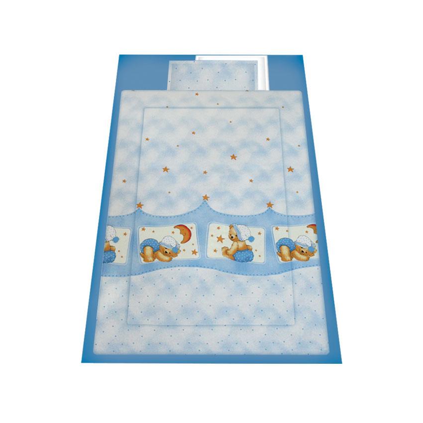 lenjerie de pat copii lorelli classic 4 piese sleepy hat, blue