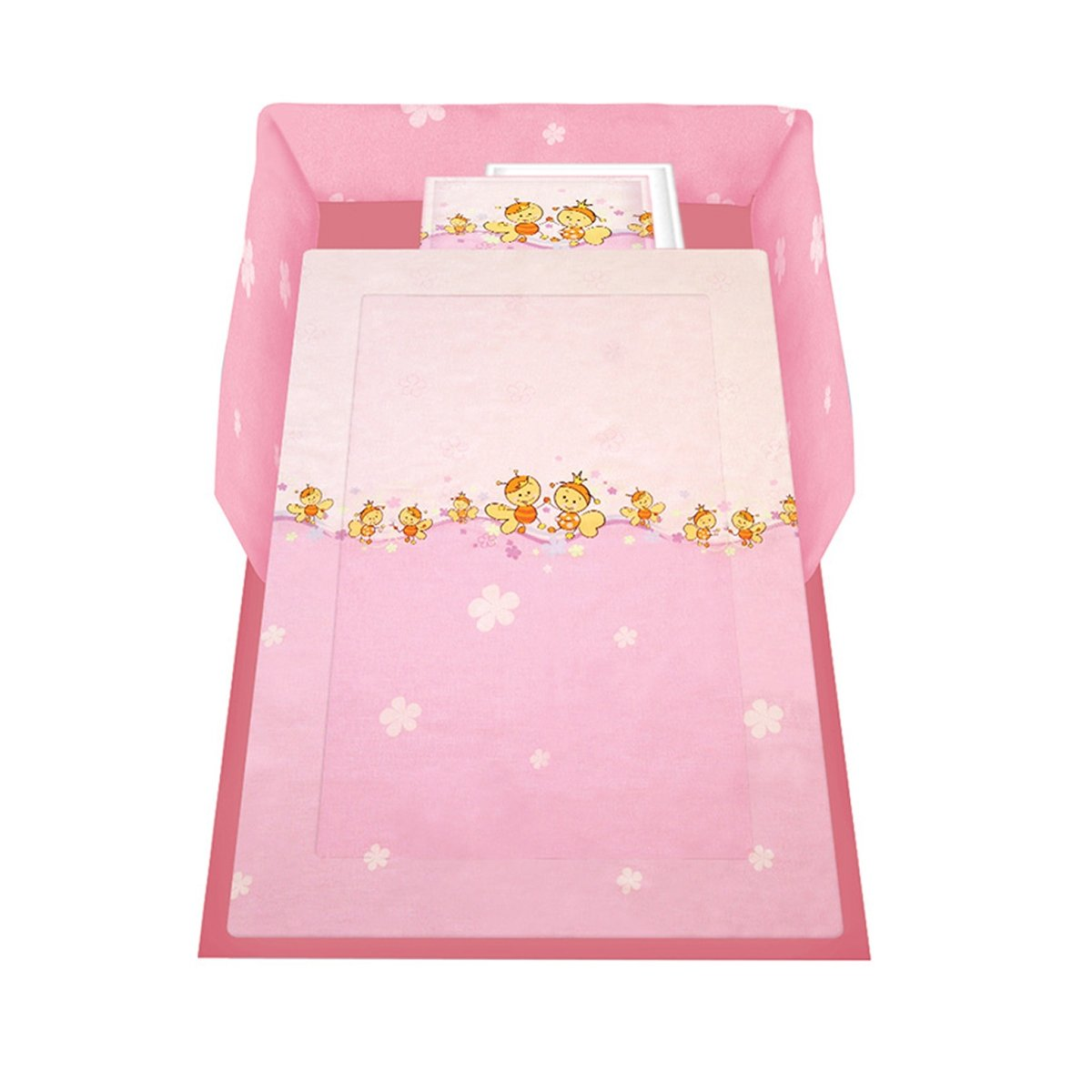 lenjerie de pat copii lorelli classic 5 piese bees, roz
