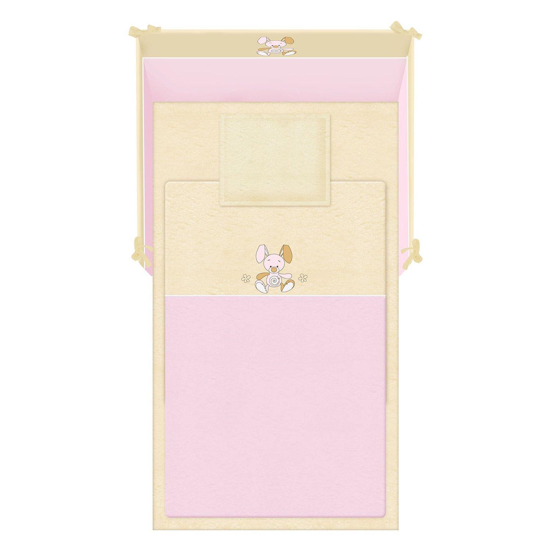 lenjerie de pat copii lorelli classic 5 piese jersey, pink
