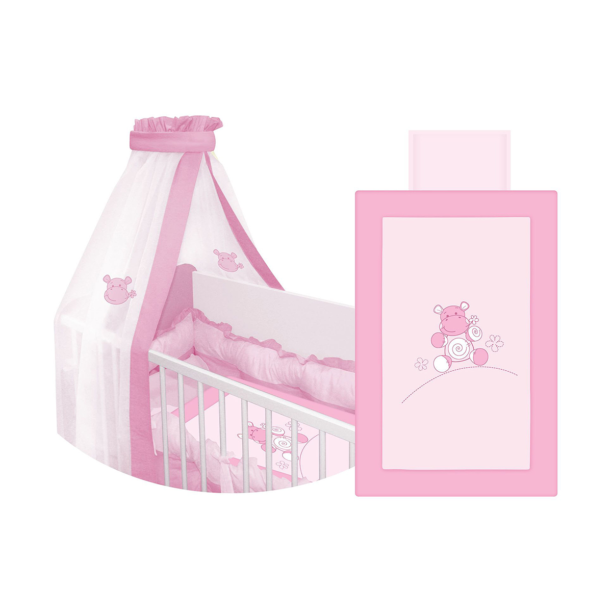 lenjerie de pat copii lorelli classic 7 piese lili hippo - pink
