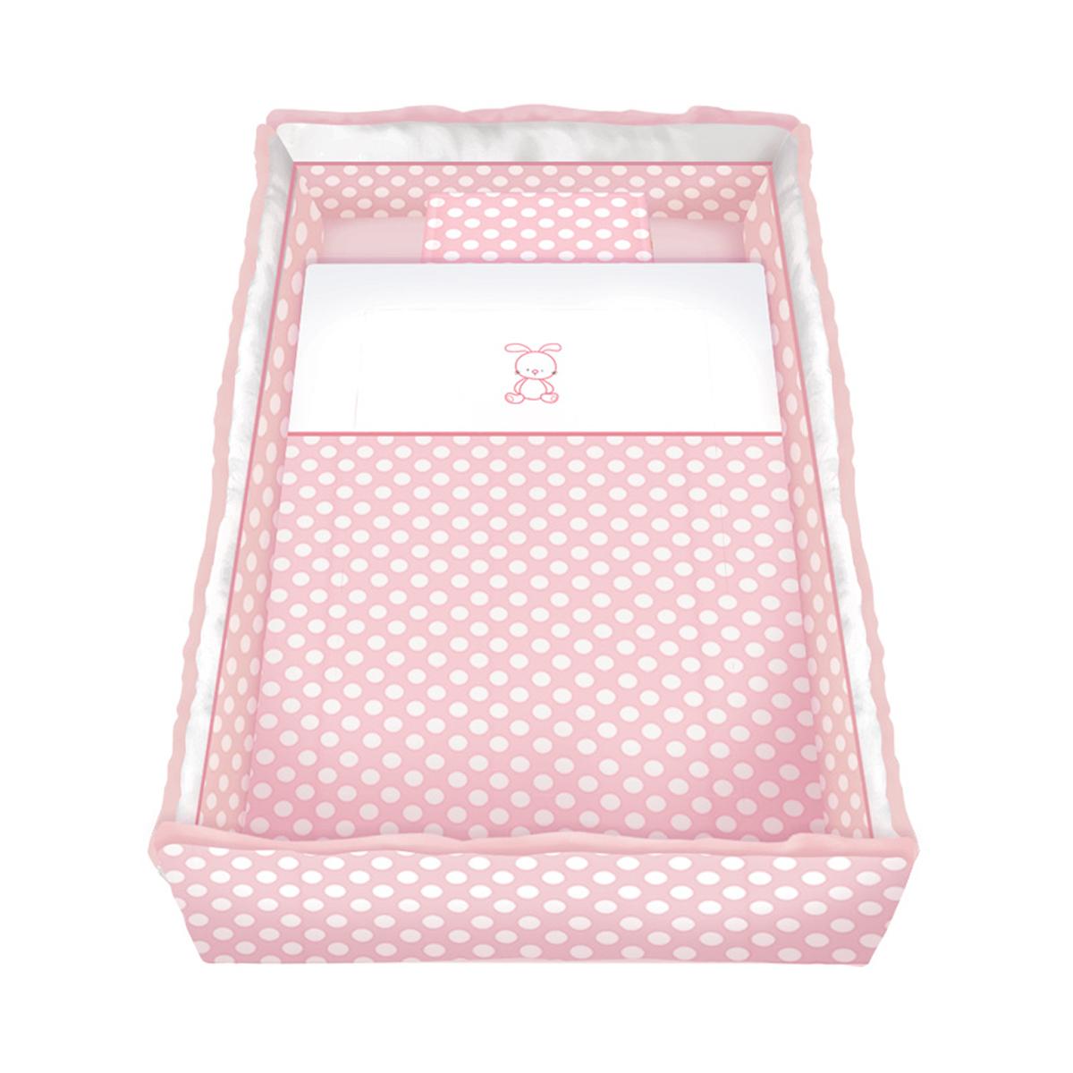 lenjerie de pat copii lorelli classic 7 piese lili rabbit, pink