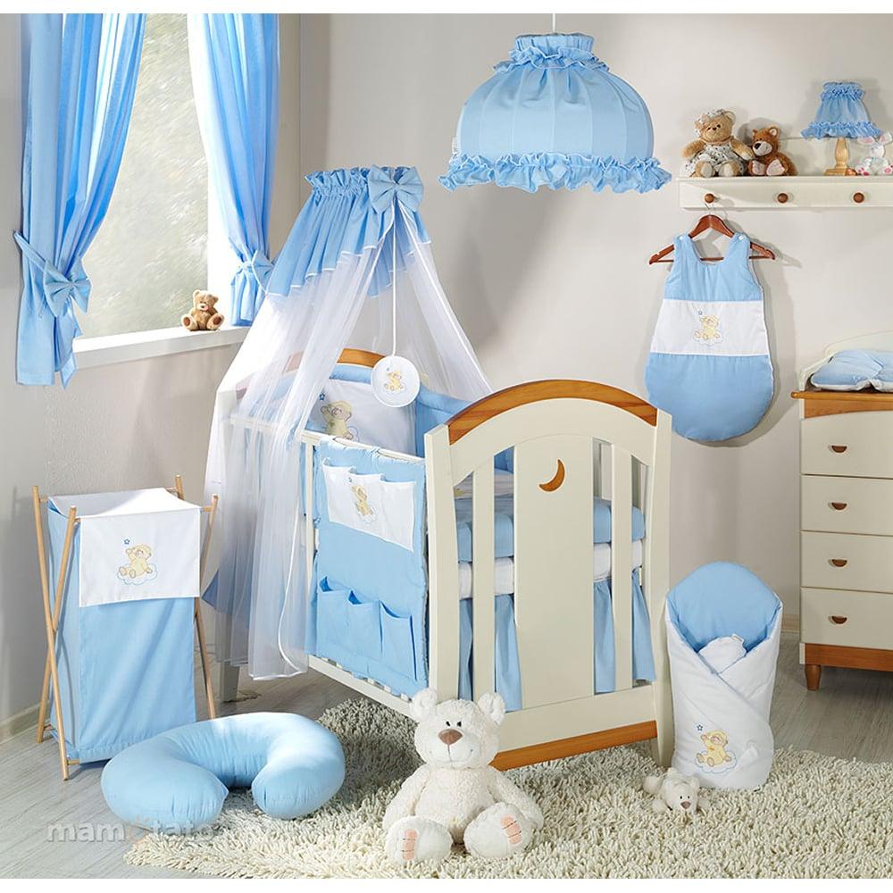 lenjerie de pat copii mamo-tato 3 piese - ursulet bleu, 120 x 60 cm