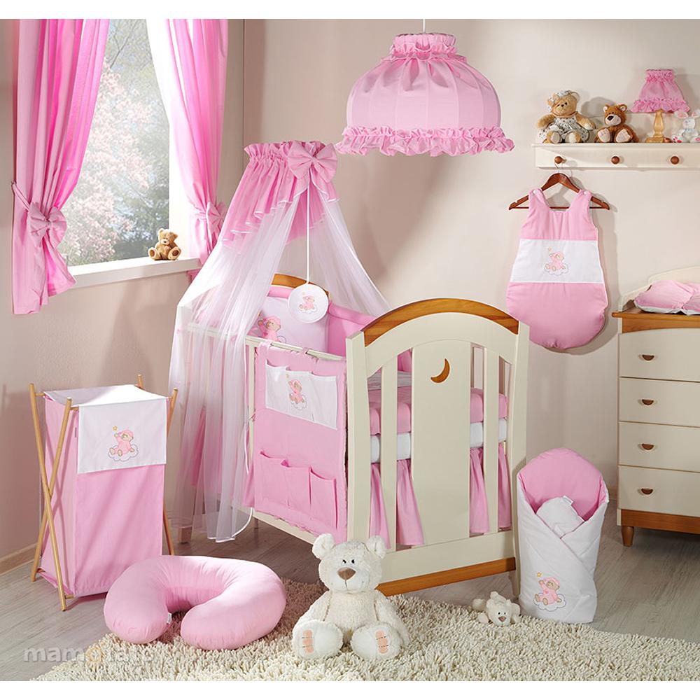 lenjerie de pat copii mamo-tato 3 piese - ursulet roz, 120 x 60 cm