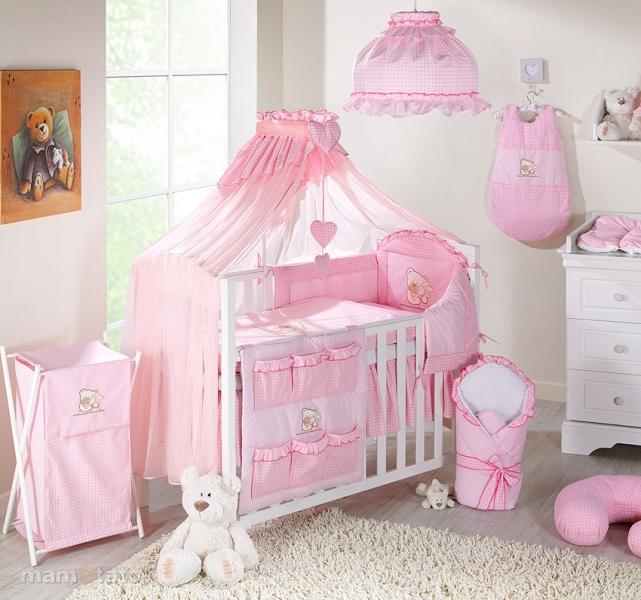 lenjerie de pat copii mamo-tato 5 piese - ursulet si iepuras 140 x 70 cm, roz