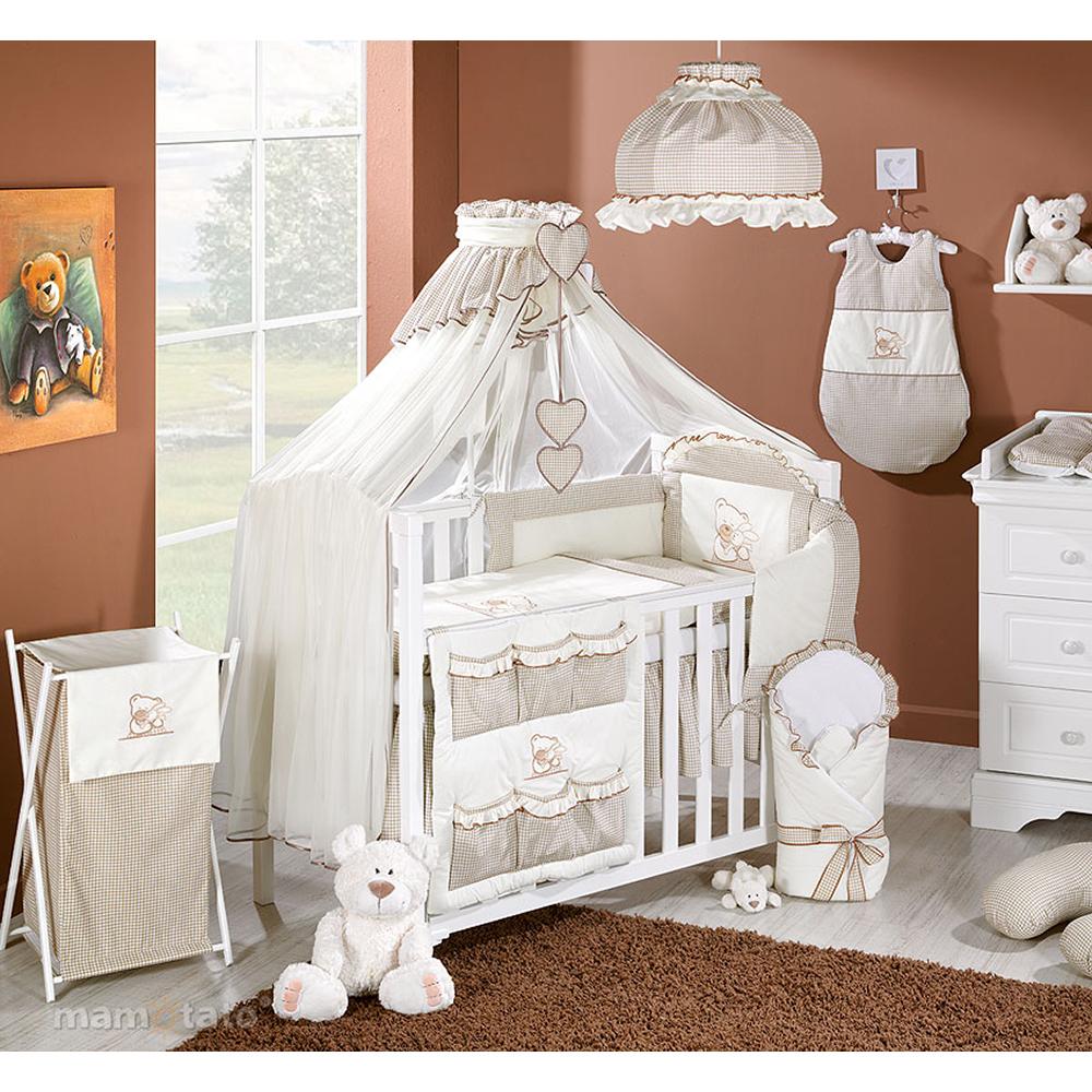 lenjerie de pat copii mamo-tato 5 piese - ursulet si iepuras crem, 140 x 70 cm