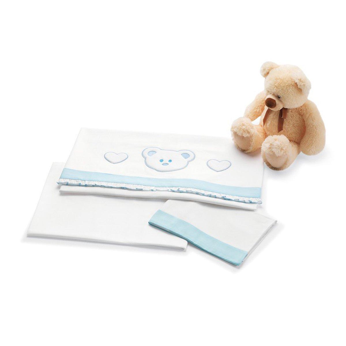 Lenjerie de pat copii Pali 3 piese Loving Bear Azzuro