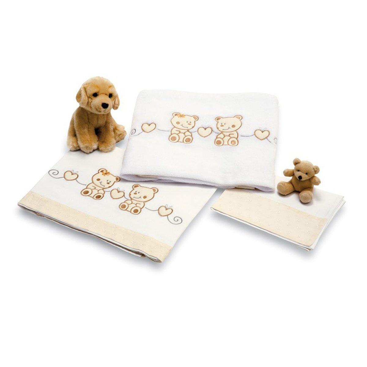 lenjerie de pat copii pali 3 piese tip tap, beige