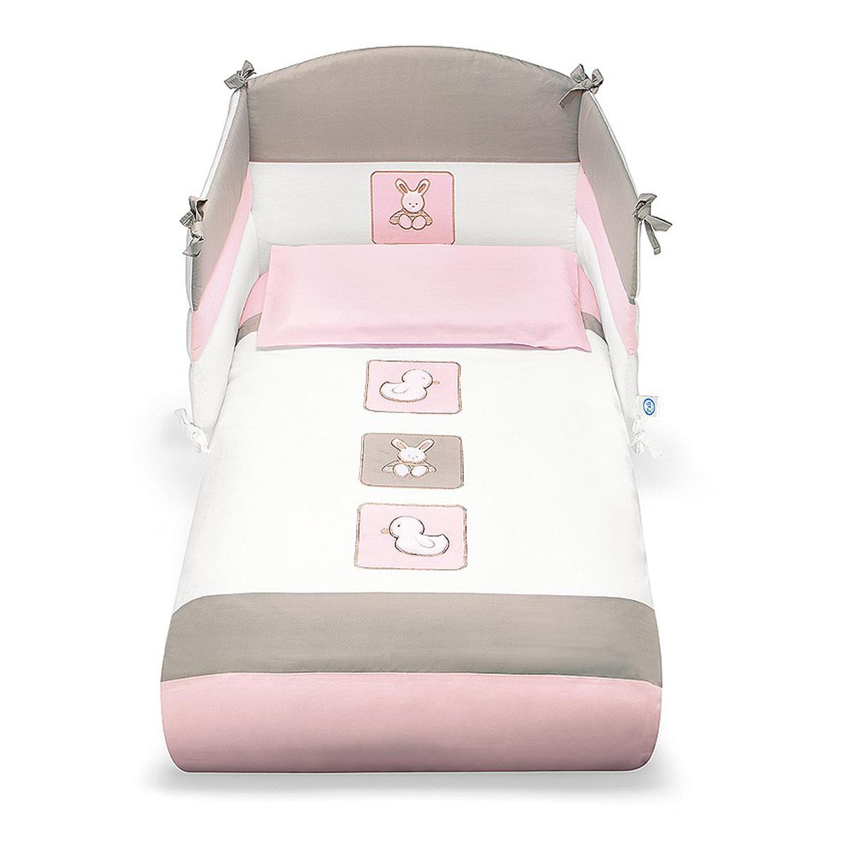 lenjerie de pat copii pali 4 piese tommy - rosa
