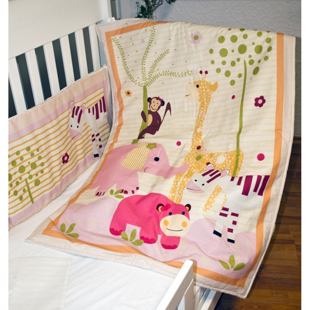 lenjerie de pat copii schimbul 3 - jungla vesela, 4 piese, 140 x 70cm