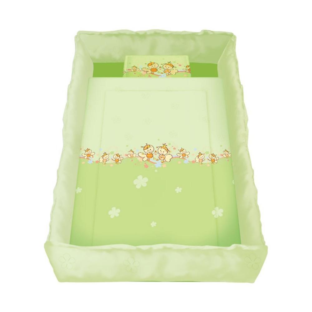 lenjerie pat copii lorelli classic 8 piese bees, green