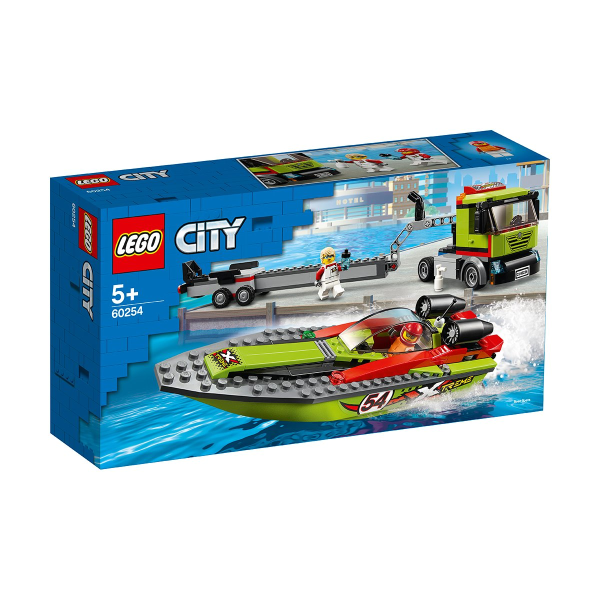 LEGO® City Great Vehicles - Transportorul barcilor de curse (60254)