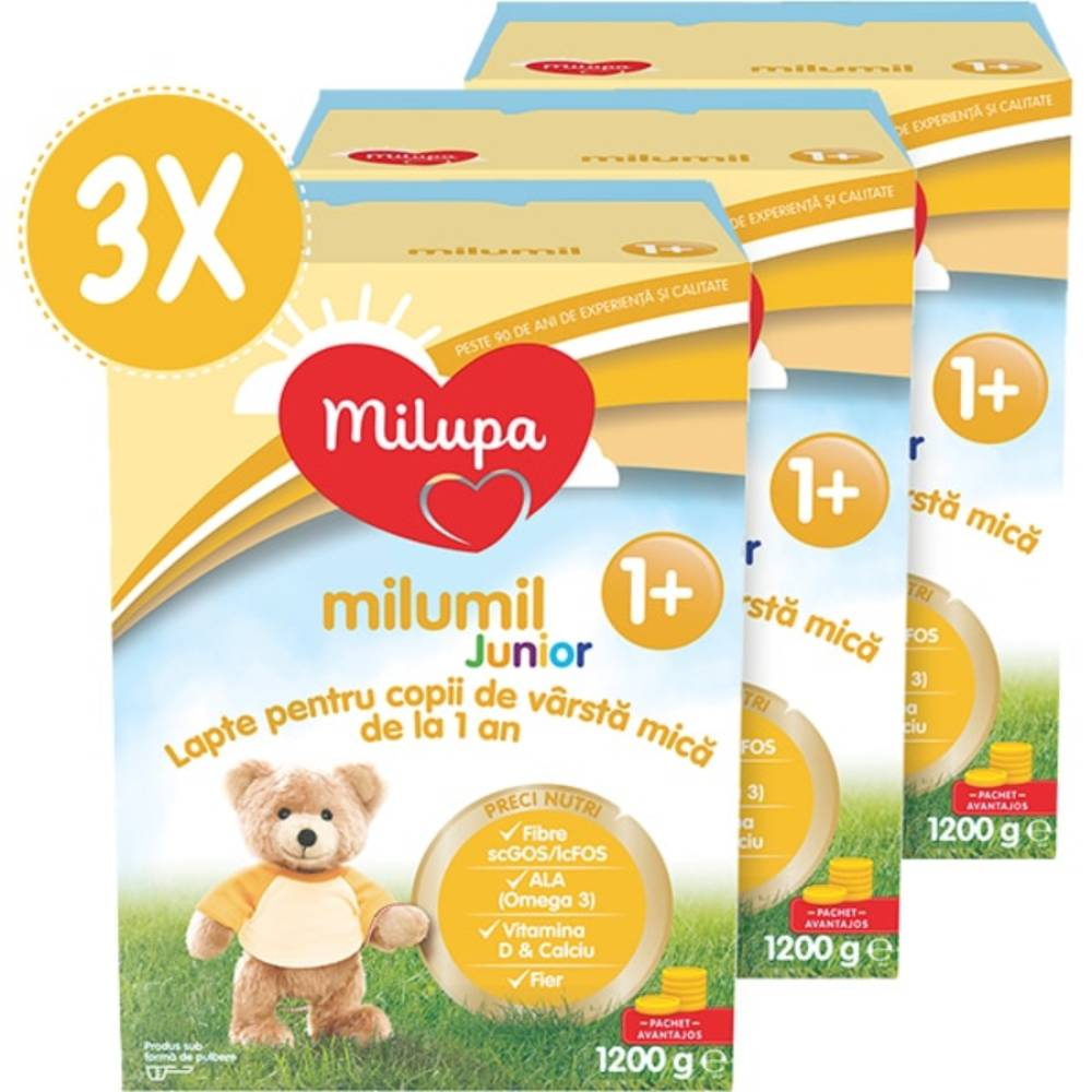 Lapte praf Milupa Milumil Junior 1+, 3 pachete x 1200 g