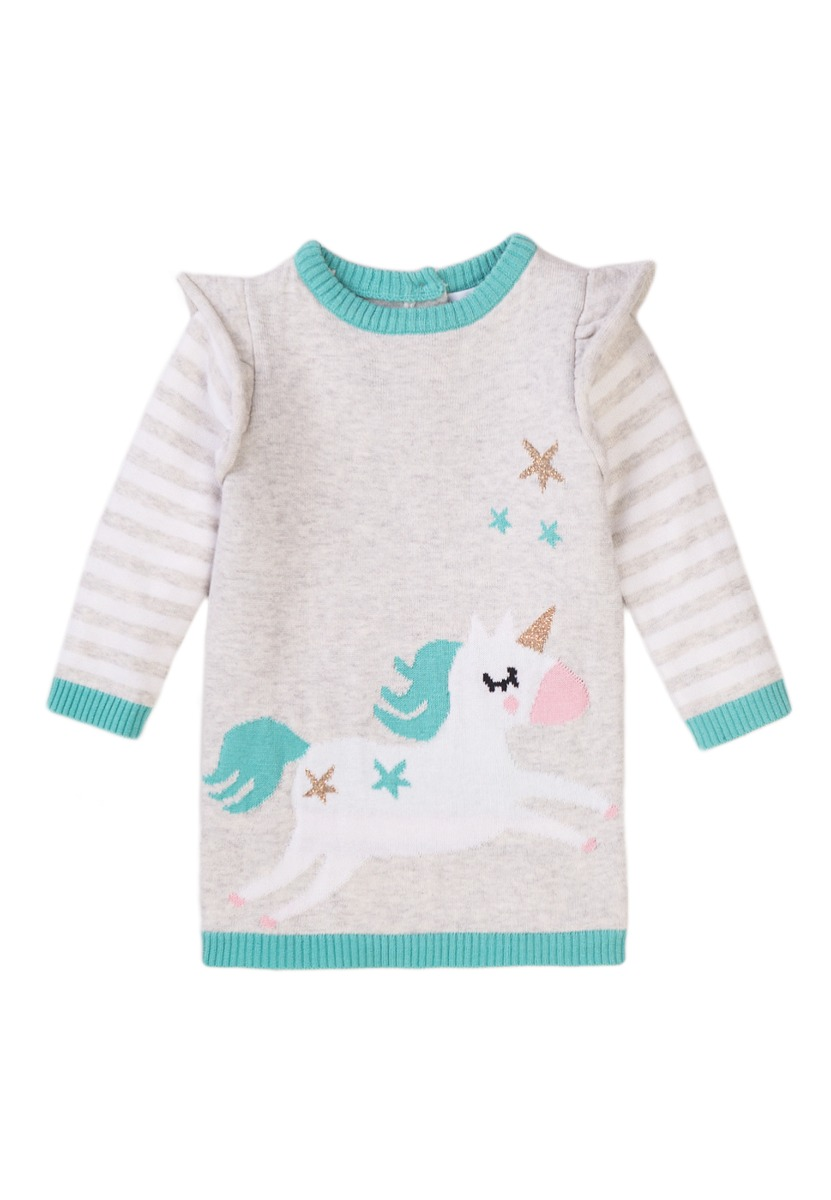 Rochie tricotata cu maneca lunga Minoti Baby, Magical, Unicorn