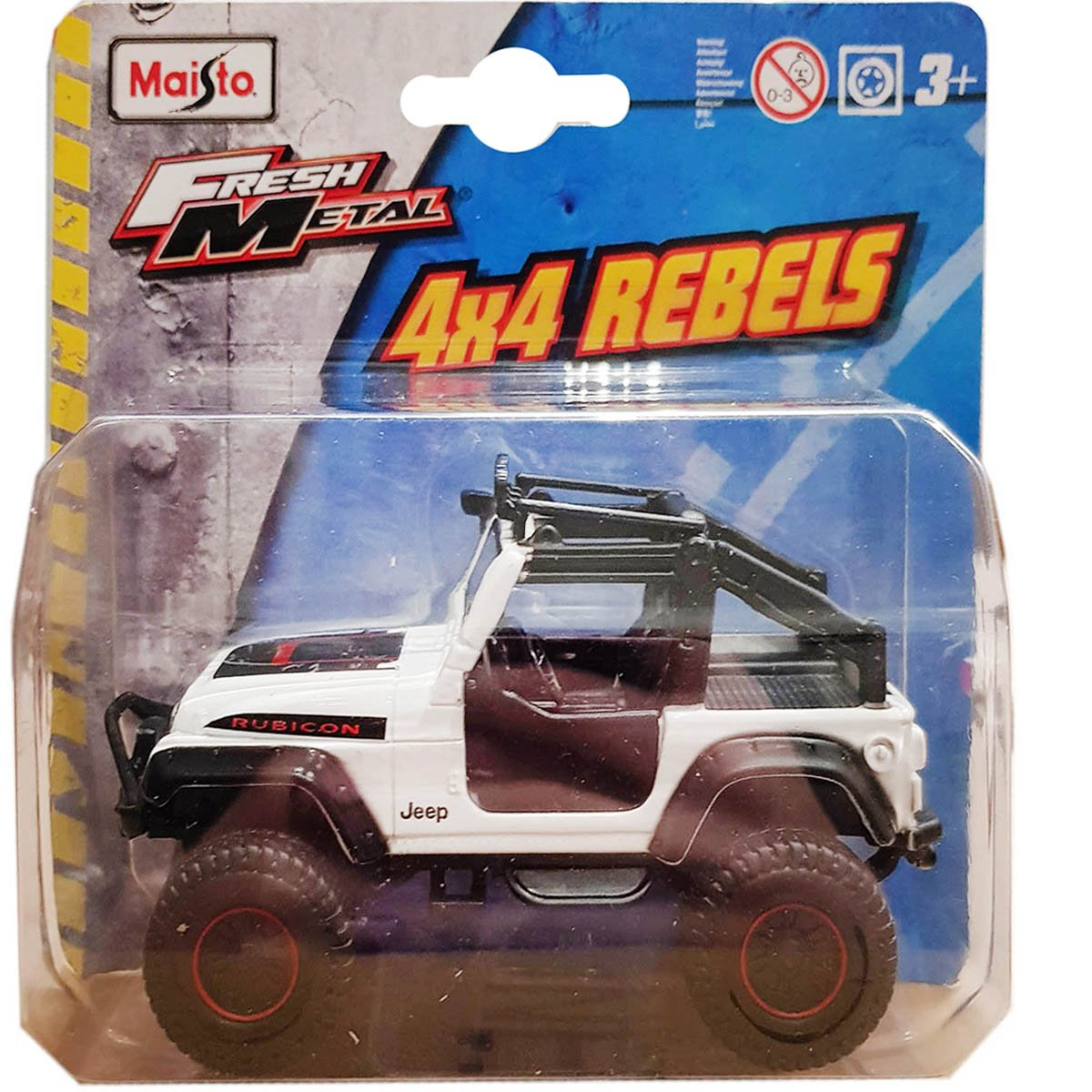 Masinuta Maisto Fresh Metal, 4X4 Rebels, 11 cm, 1:64, Jeep alb