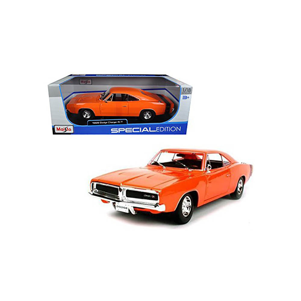Masinuta Maisto Dodge Charger Rt 1969, 1:18 - Portocaliu