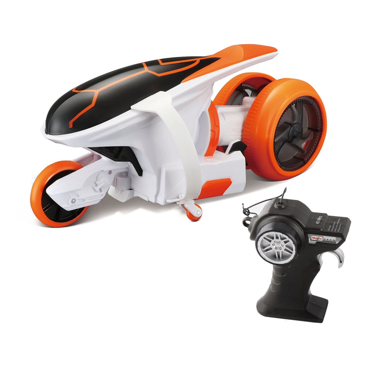 Motocicleta cu telecomanda Cyklone 360 Maisto, Alb, 27 MHz