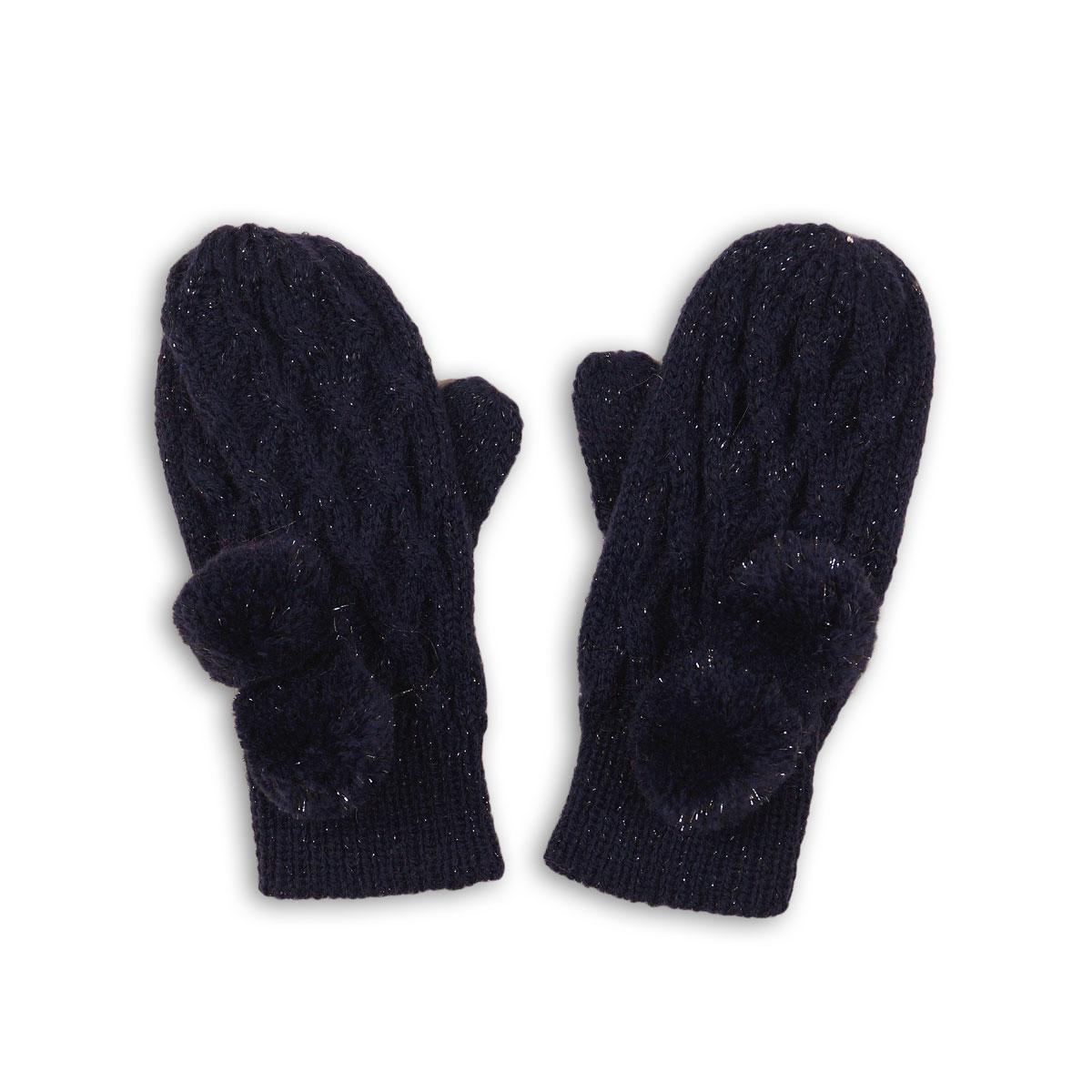 Manusi tricotate cu mansete striate si pampoane Minoti (1-3ANI) imagine
