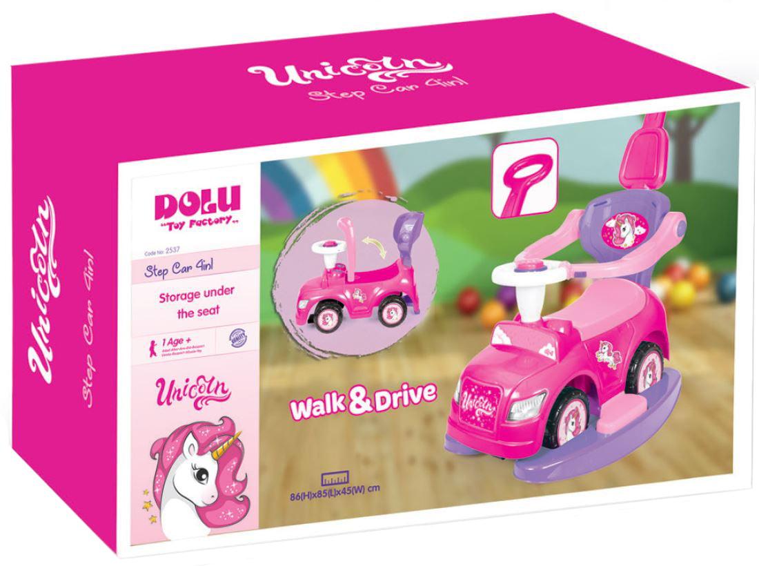 Masinuta cu maner Walk and Drive Dolu Unicorn Step 4 in 1, Roz