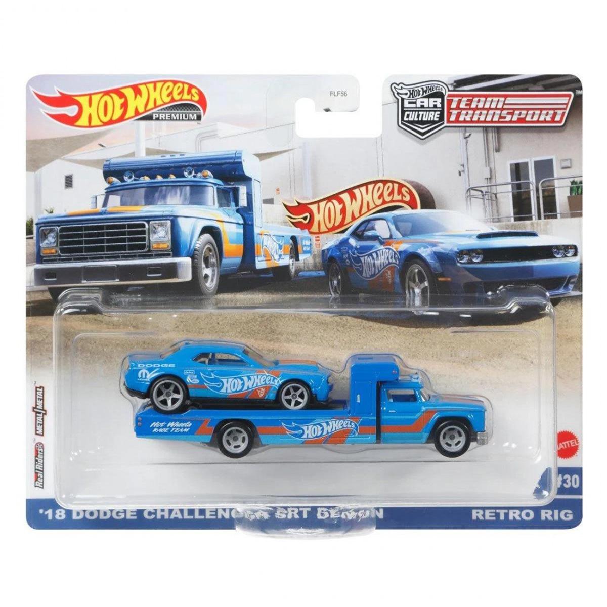Transportator cu masinuta Hot Wheels, Dodge Challenger SRT Demon, Retro Rig, GRK51