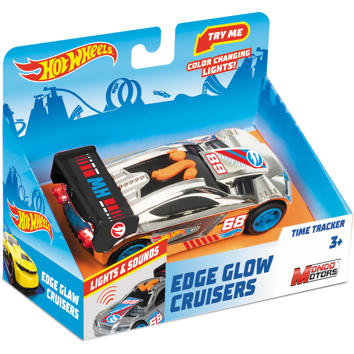 Masinuta cu lumini si sunete Hot Wheels, Time Tracker, Gri