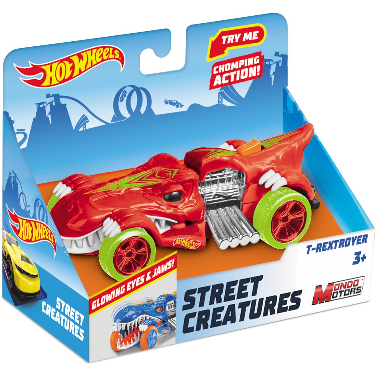 Masinuta cu lumini si sunete Hot Wheels, T-Rextroyer, Rosu