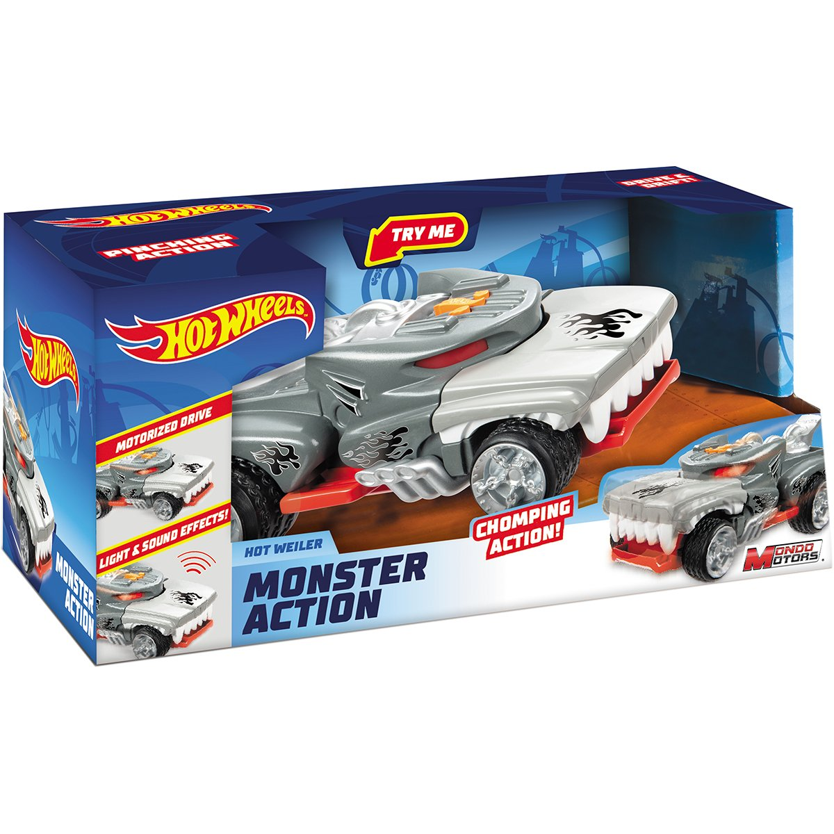 Masinuta cu lumini si sunete Hot Wheels, Monster Action, Hot Weiler