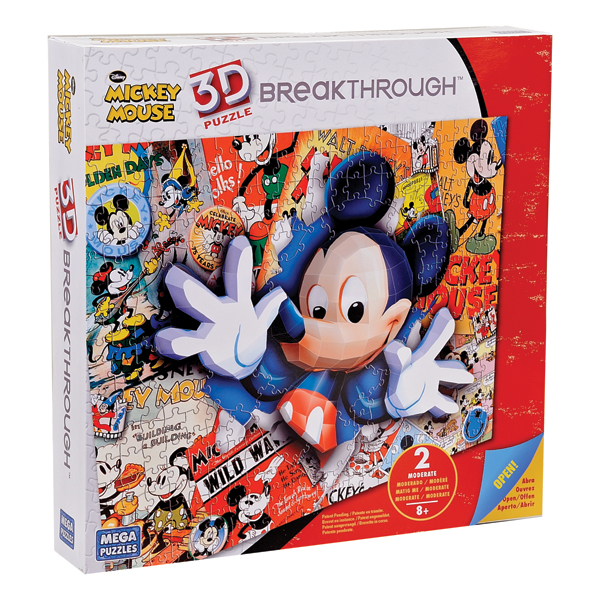 mickey mouse - puzzle 200 piese 3d - mega puzzle