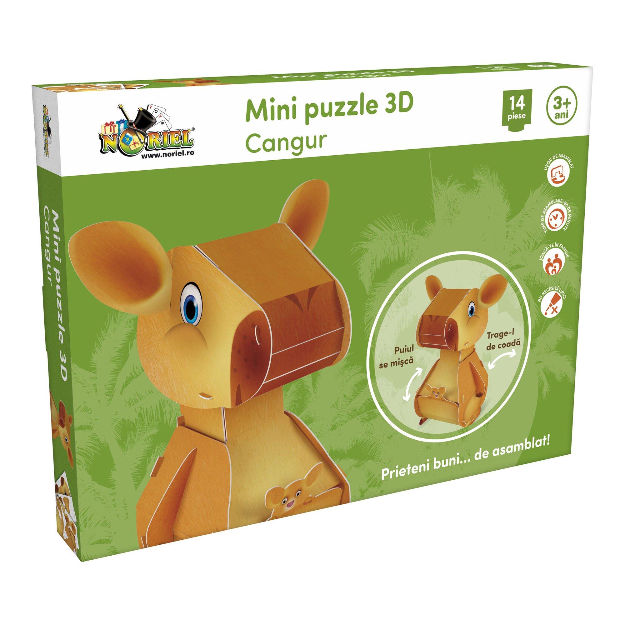 mini puzzle 3d noriel - cangur, 14 piese