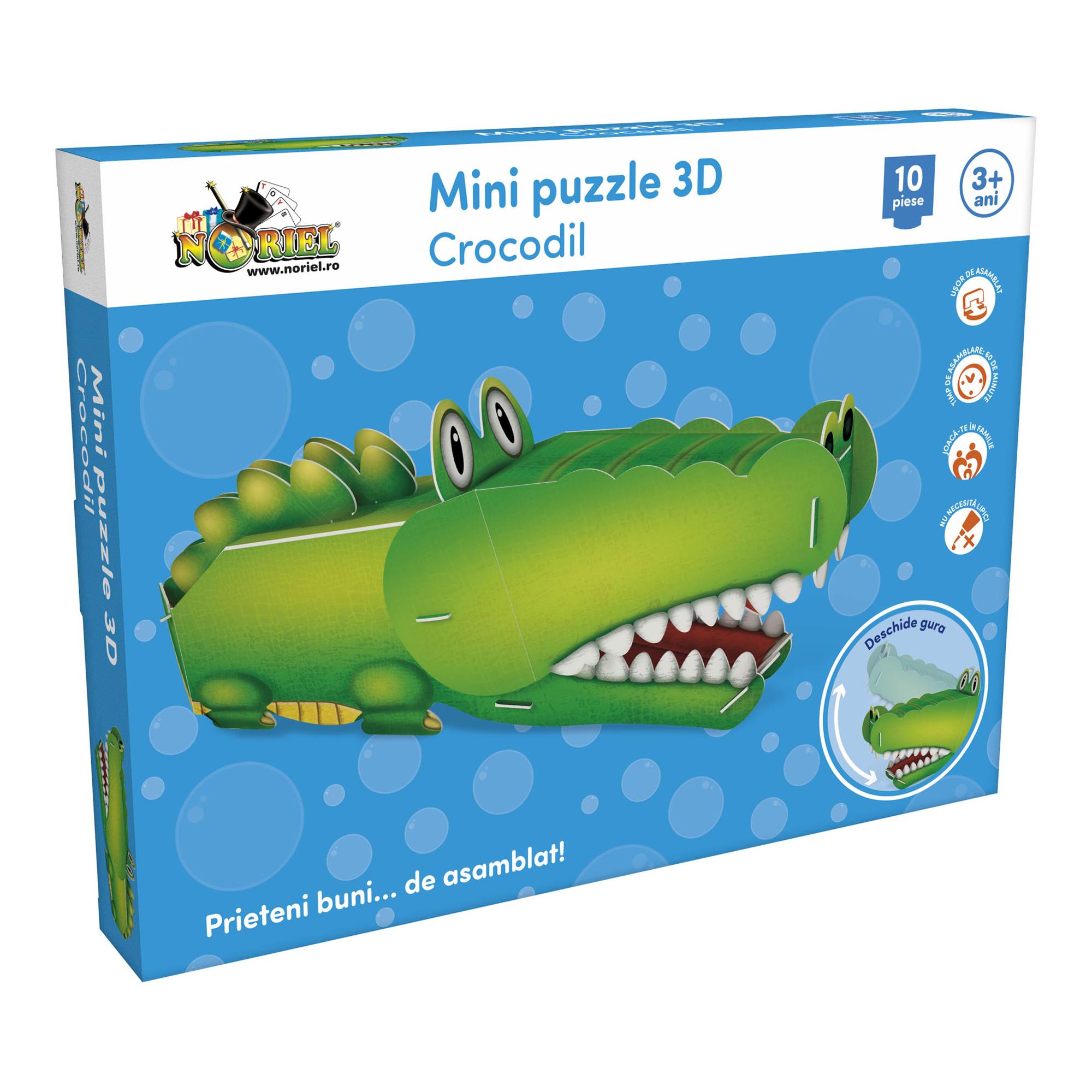 mini puzzle 3d noriel - crocodil, 10 piese