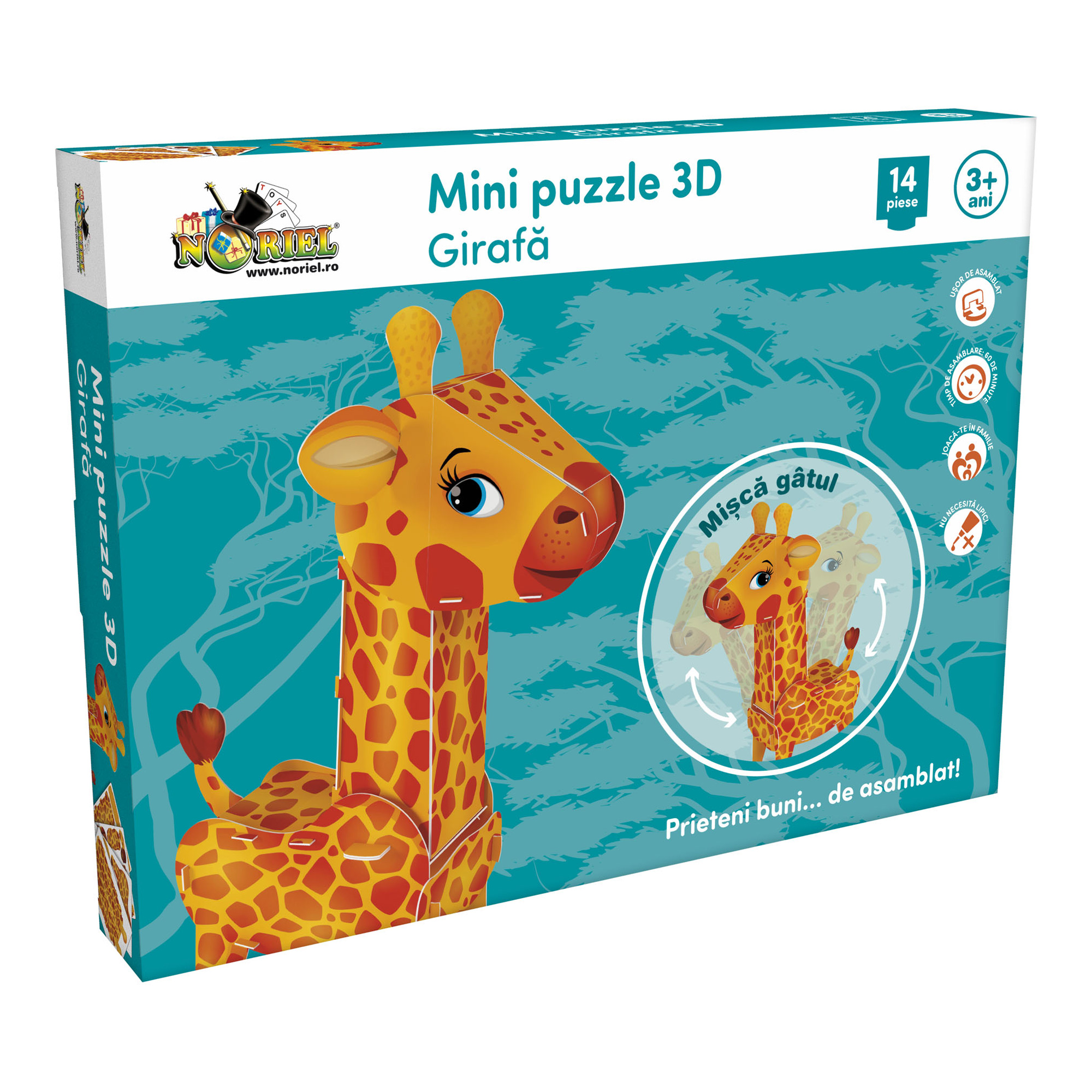 mini puzzle 3d noriel - girafa, 14 piese