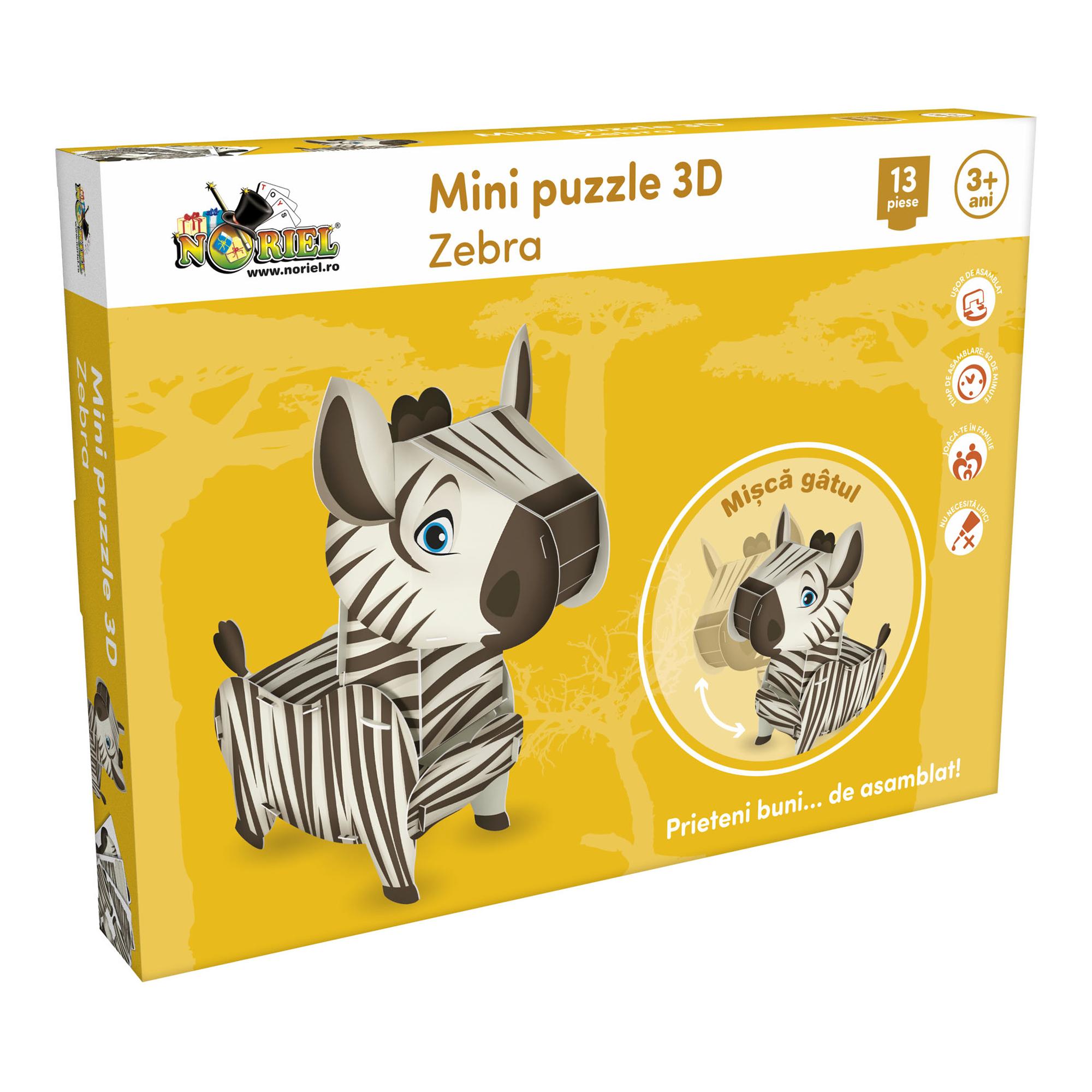 mini puzzle 3d noriel - zebra, 13 piese
