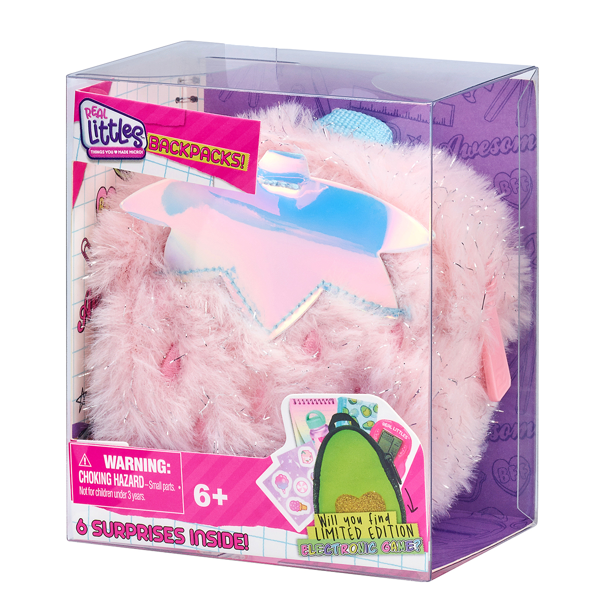 Mini ghiozdanel cu 6 surprize, Real Littles, Themed, S3, Roz