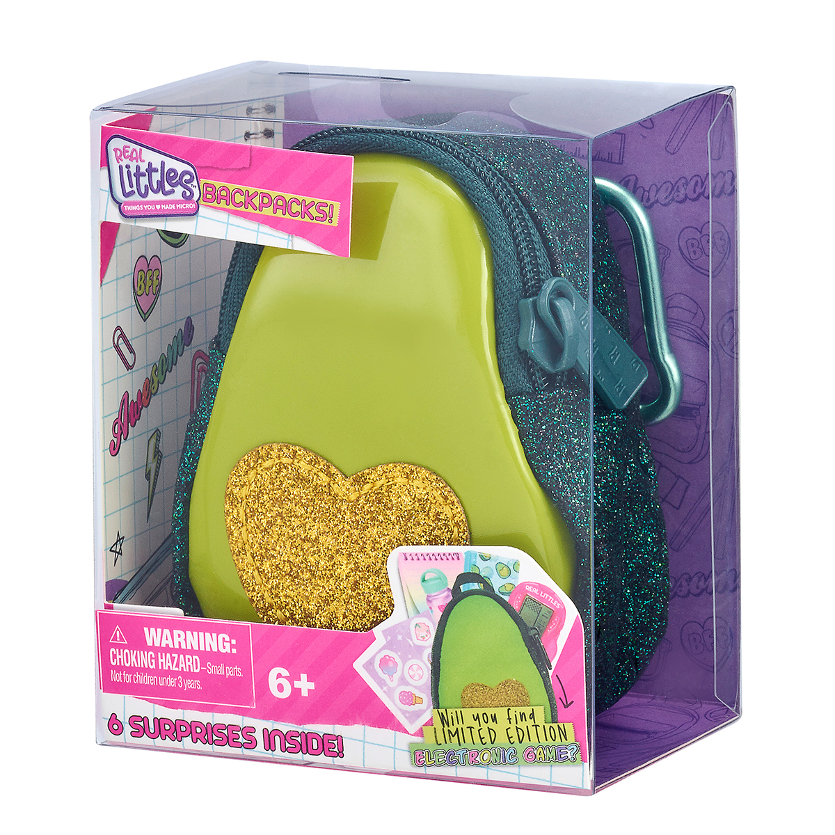 Mini ghiozdanel cu 6 surprize, Real Littles, Themed, S3, Verde