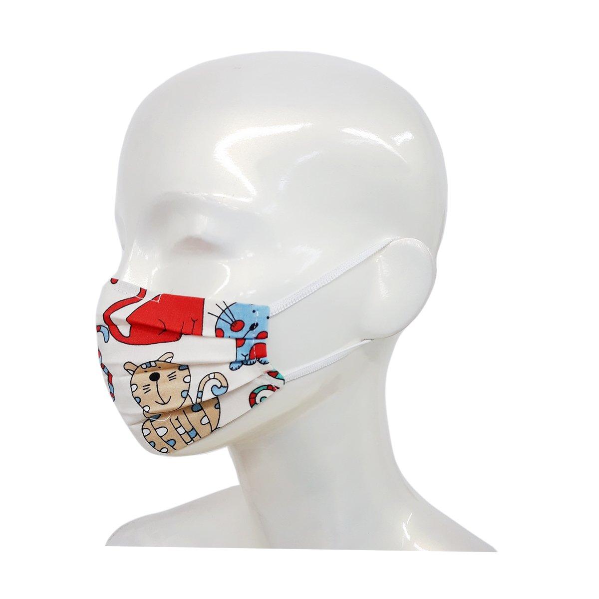 Set 4 bucati, Masca de fata, copii 3-6 ani, forma anatomica, reutilizabila, Noriel, Pisicute imagine