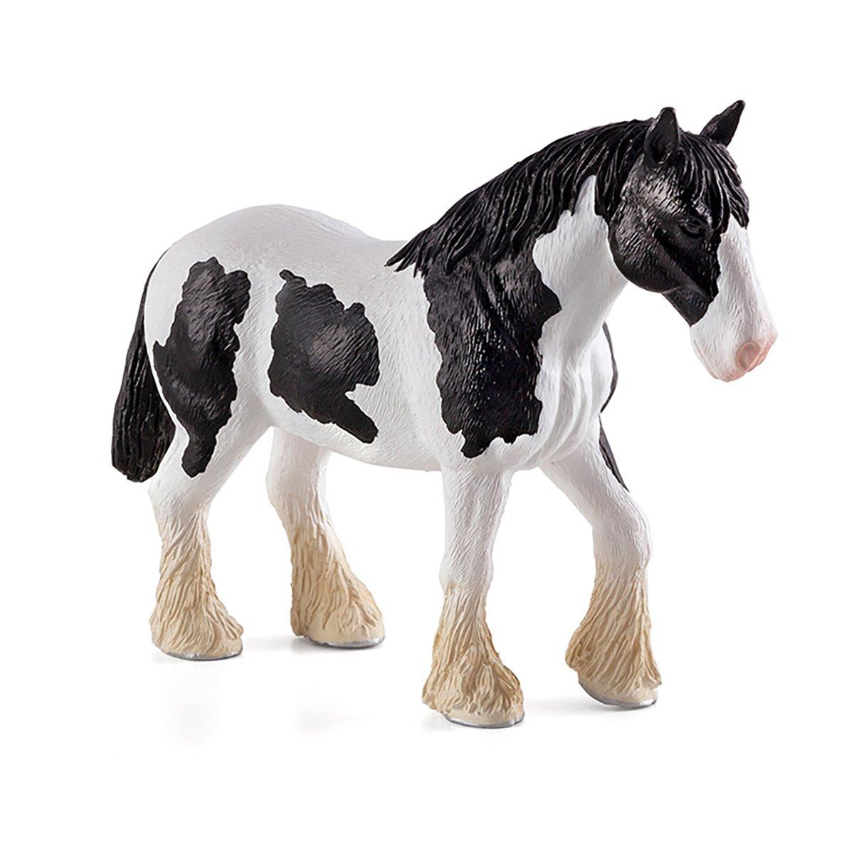 Figurina Mojo, Cal alb cu negru Clydesdale