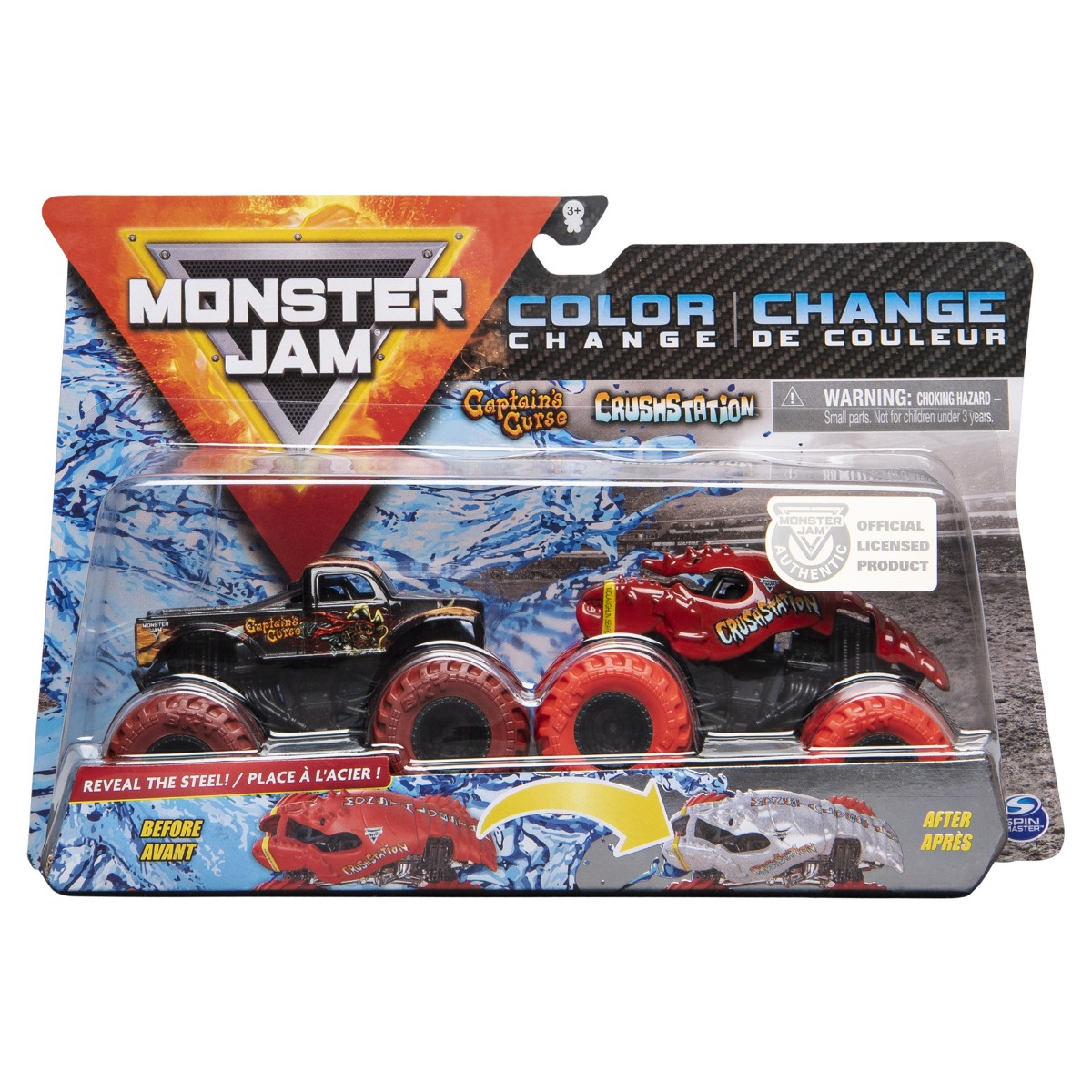 Set 2 masini Monster Jam, Scara 1:64, Captains Cuse si Crush Station