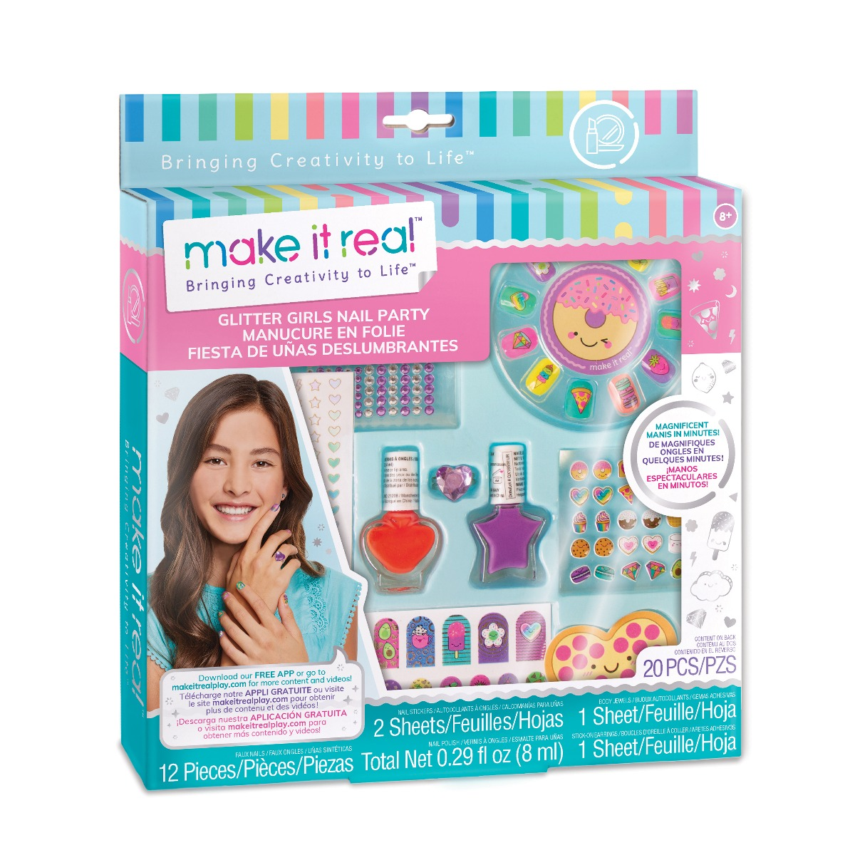 Set manichiura Make It Real - Glitter Girls Nail Party, Unghii traznite