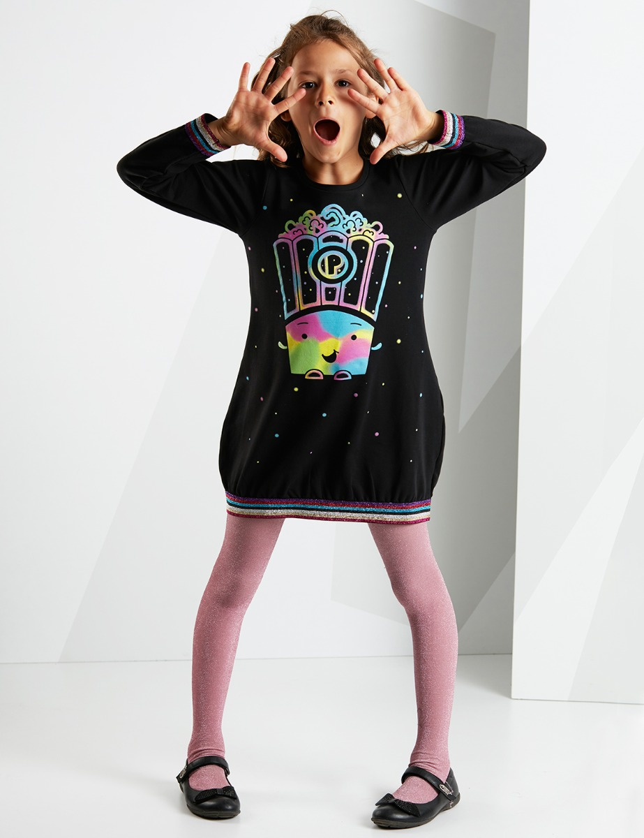 Rochie cu maneca lunga Black Popcorn Queen Mushi imagine