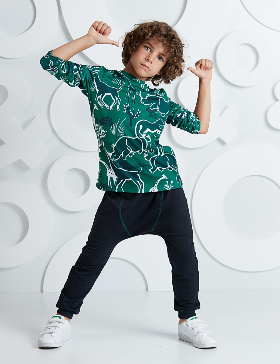 Set bluza cu maneca lunga si pantaloni sport cu tur Mushi imagine