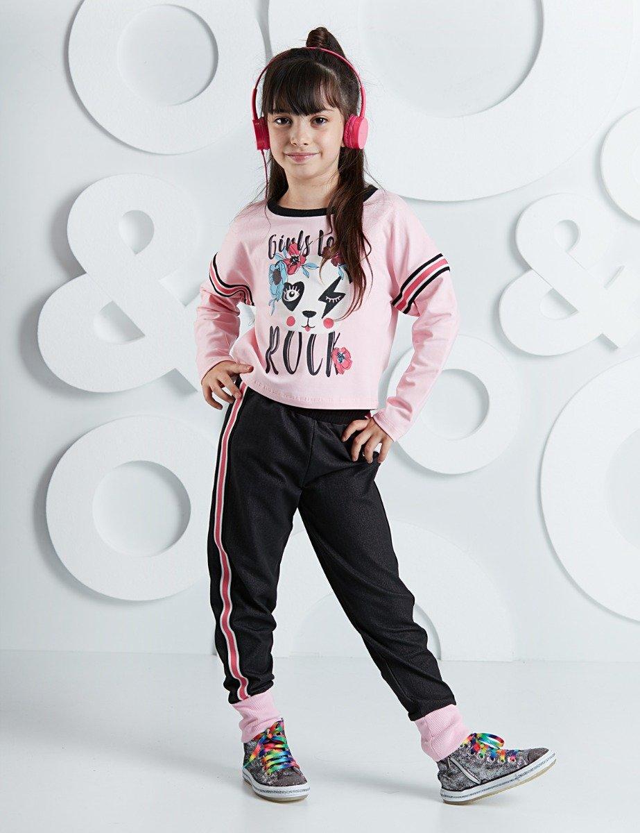 Set tricou cu maneca lunga si pantaloni sport Rock Panda Mushi imagine 2021